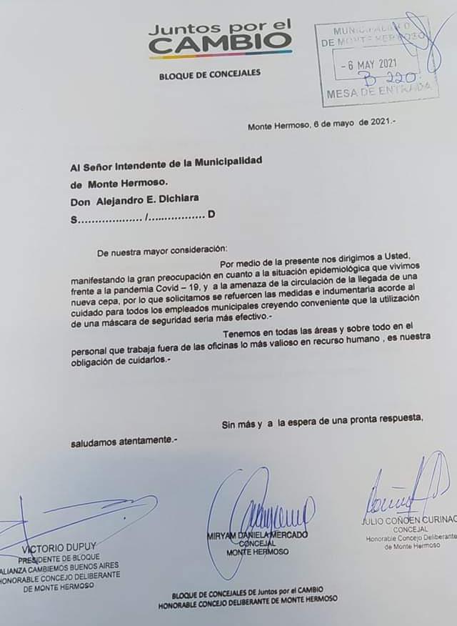 Carta de JxC al intendente municipal